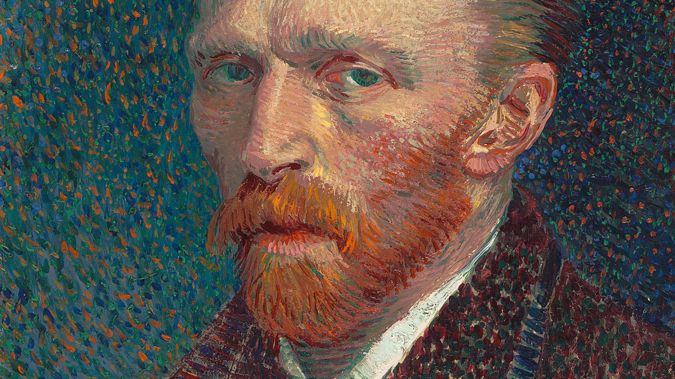 Selbstporträt von Vincent van Gogh (1887), in strichigem Malstil und in kräftigen Farben gemalt