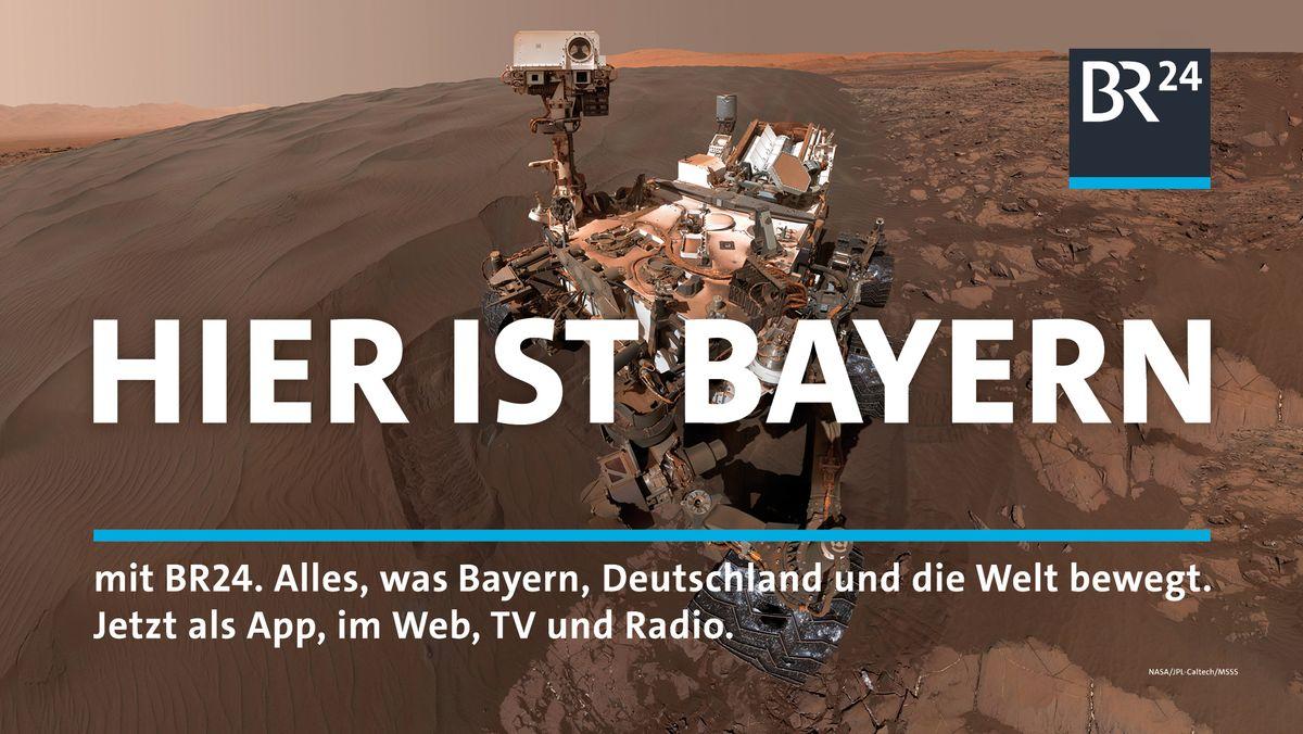 Hier ist Bayern: Foto des Marsrovers nach der Landung auf dem Planeten Mars