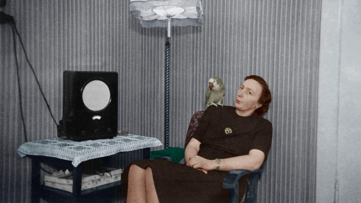 Frau mit Papagei auf der Schulter vor einem Radio ('Volksempfänger')