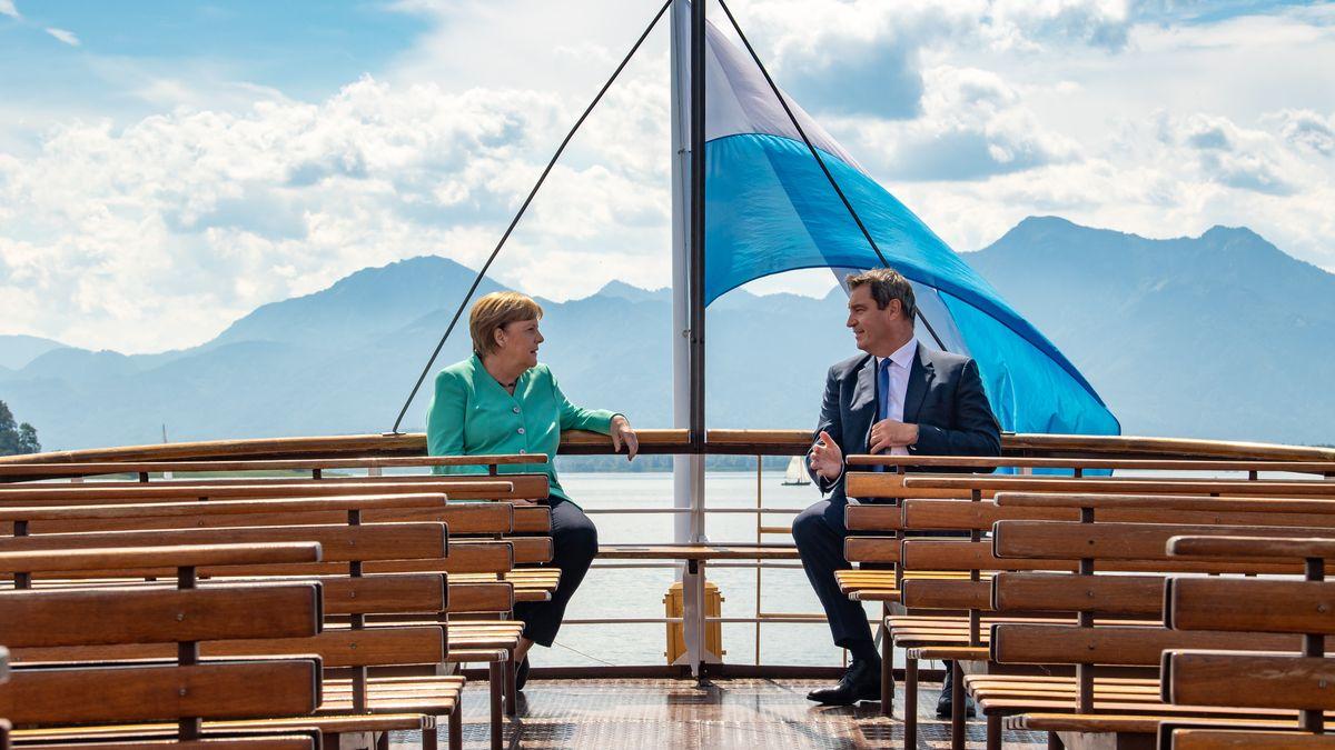 Merkel und Söder auf dem Weg Richtung Herrenchiemsee