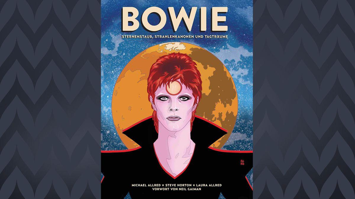 """Cover zu """"Bowie – Sternenstaub, Strahlenkanonen und Tagträume"""", der Musiker vor galaktischem Hintergrund mit blauem All und gelbem Planeten"""