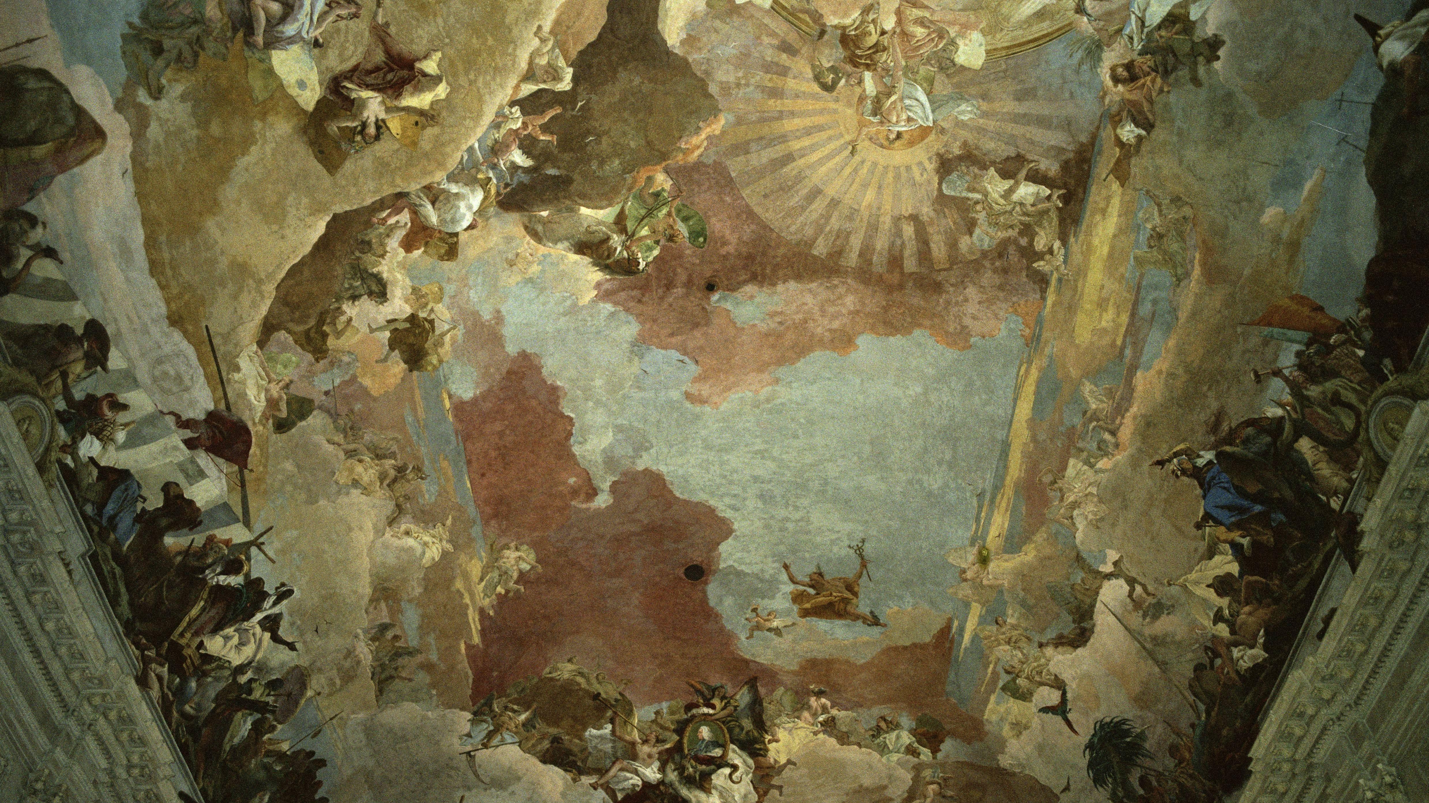 Ausschnitt des Tiepolo-Freskos im Treppenhaus der Würzburger Residenz