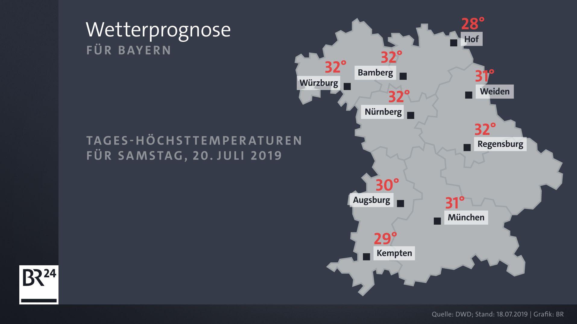 Wetterprognose für Samstag, 20. Juli 2019.
