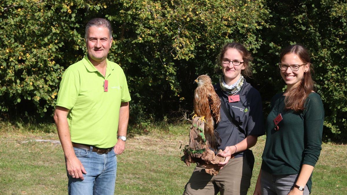 Biosphärenreservats-Leiter Thorsten Raab, Projektleiterin Heidi Witzmann, Studentin Miriam Völkel (v.l.n.r.)