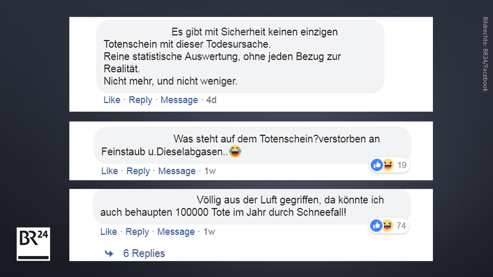 Kommentare von Usern der BR24-Facebook-Seite