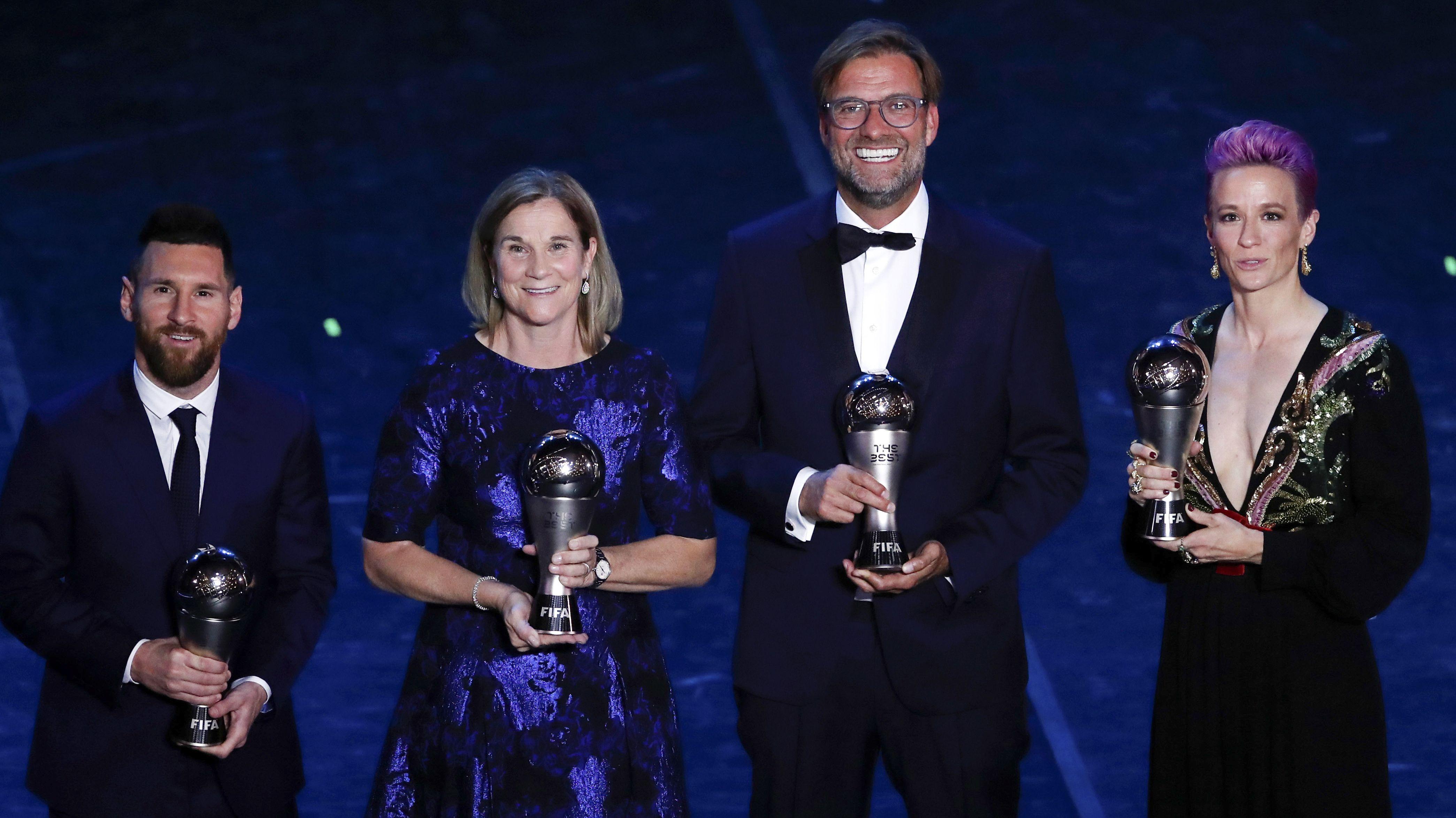 Lionel Messi, Jill Ellis, Jürgen Klopp, Megan Rapinoe (von links)