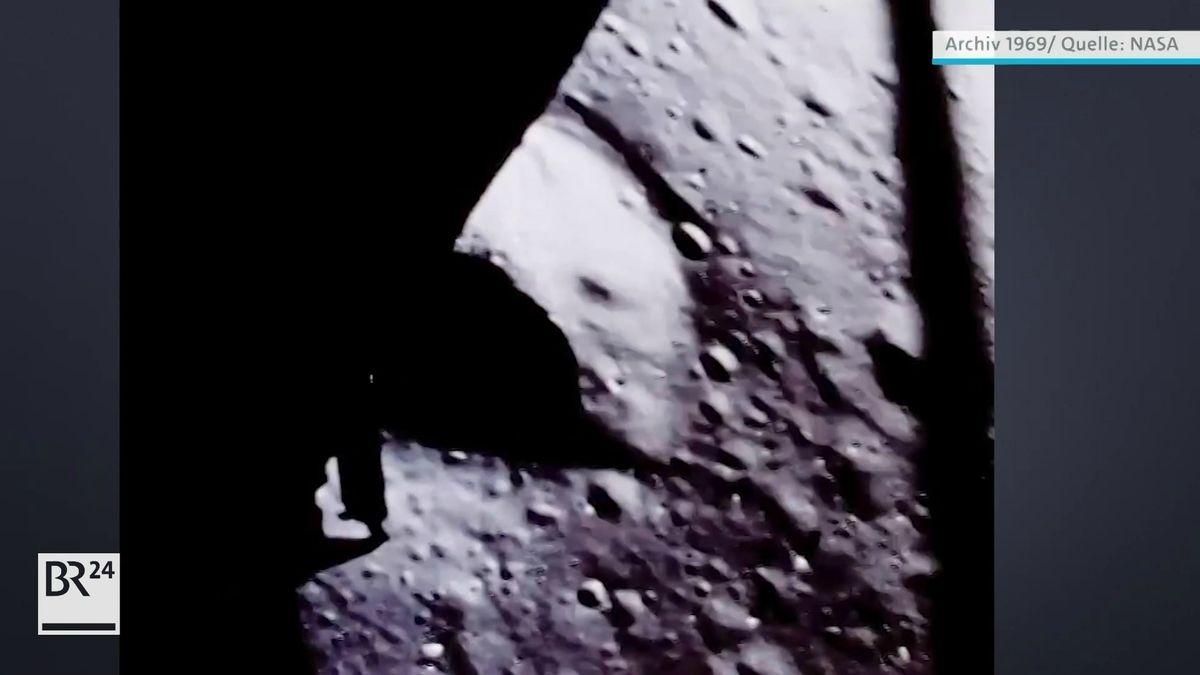 Mondfähre kurz vor dem Aufsetzen auf dem Mond