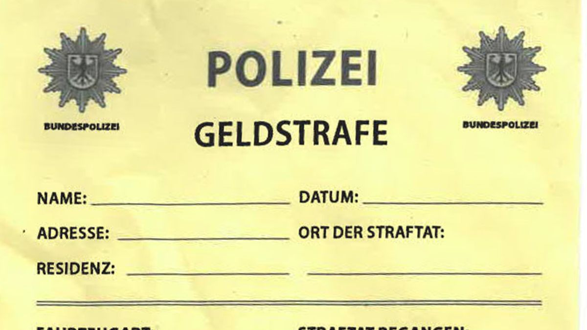 gelber Strafzettel mit offiziellem Sternsymbol der Bundespolizei