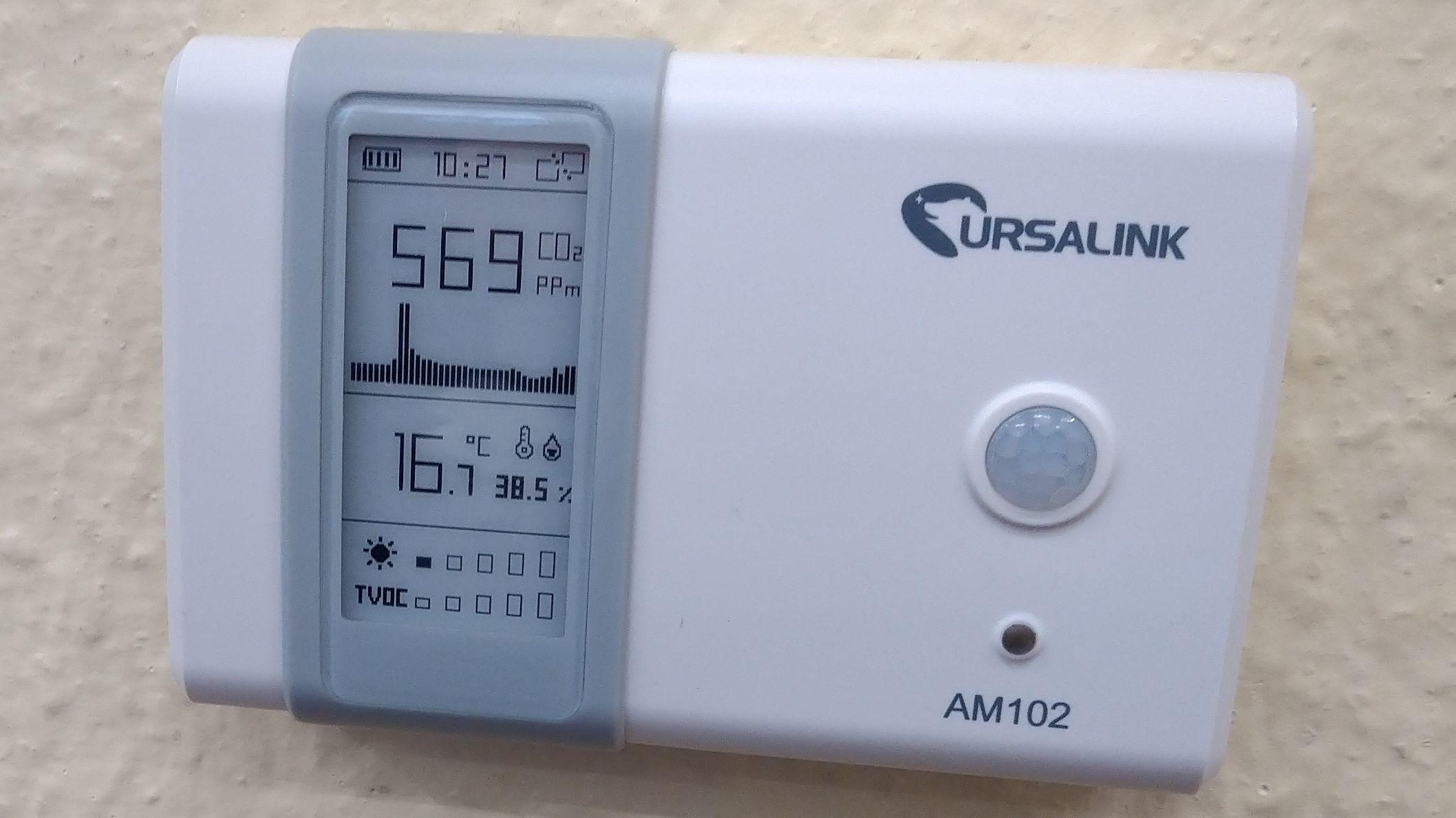 Auf dem Display eines Messgerätes ist der Aerosolwert zu sehen