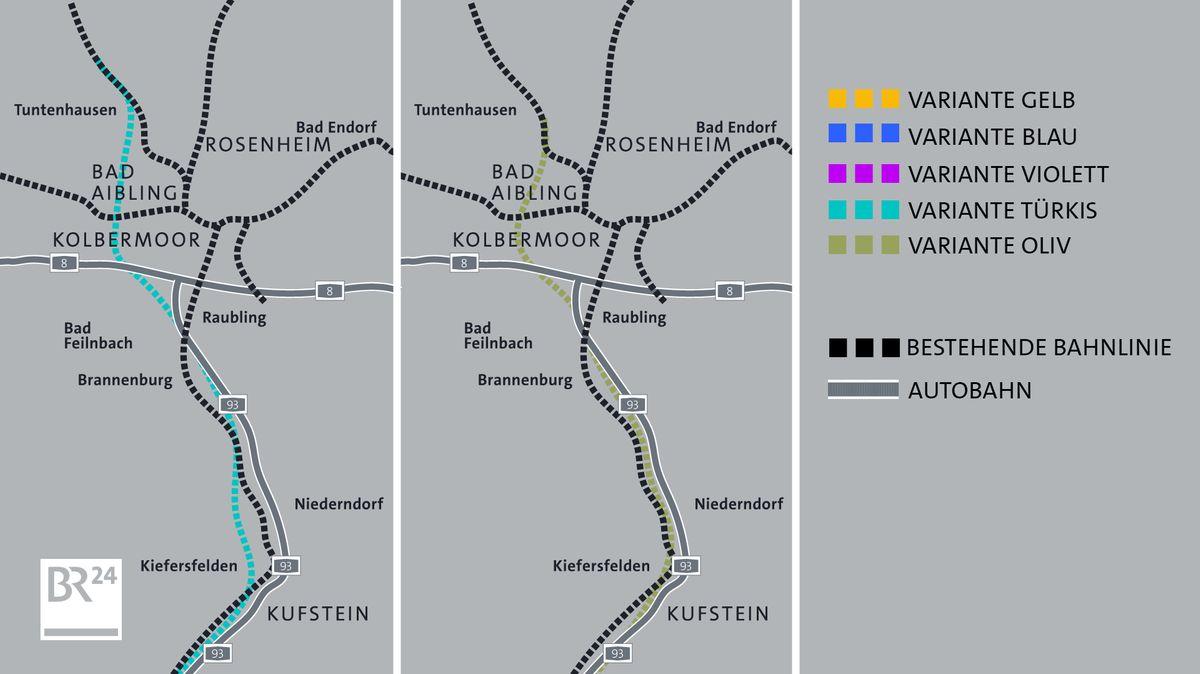 Mögliche Trassenverläufe des sogenannten Brenner-Nordzulaufs