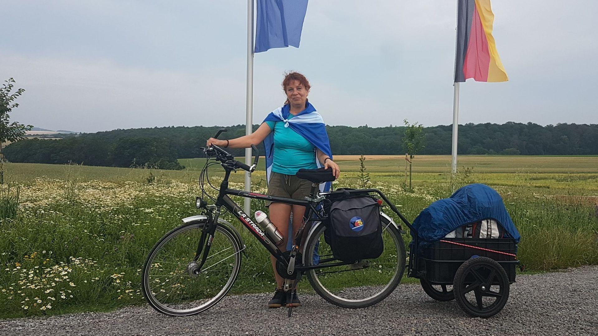 Eva Gerber vor ihrer Abfahrt in Gadheim