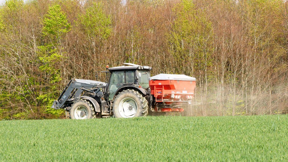Ein Landwirt fährt mit einem Traktor Dünger aus