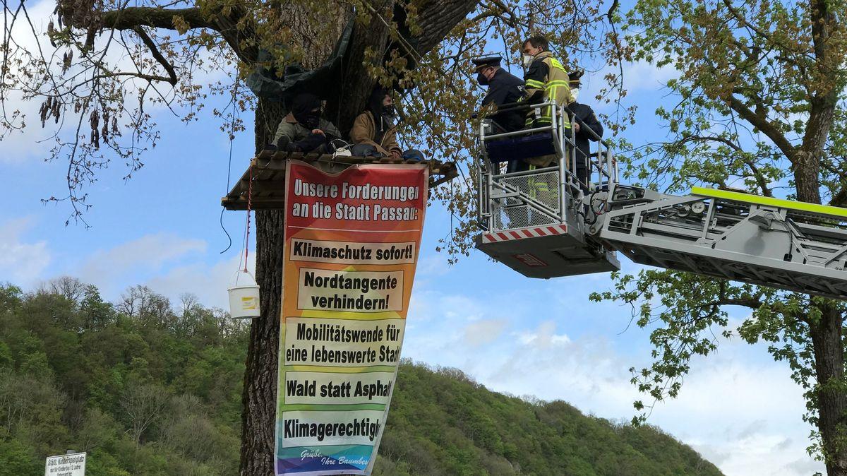 Klimaschützer in Passau besetzten Bäume um auf ihre Forderungen aufmerksam zu machen.