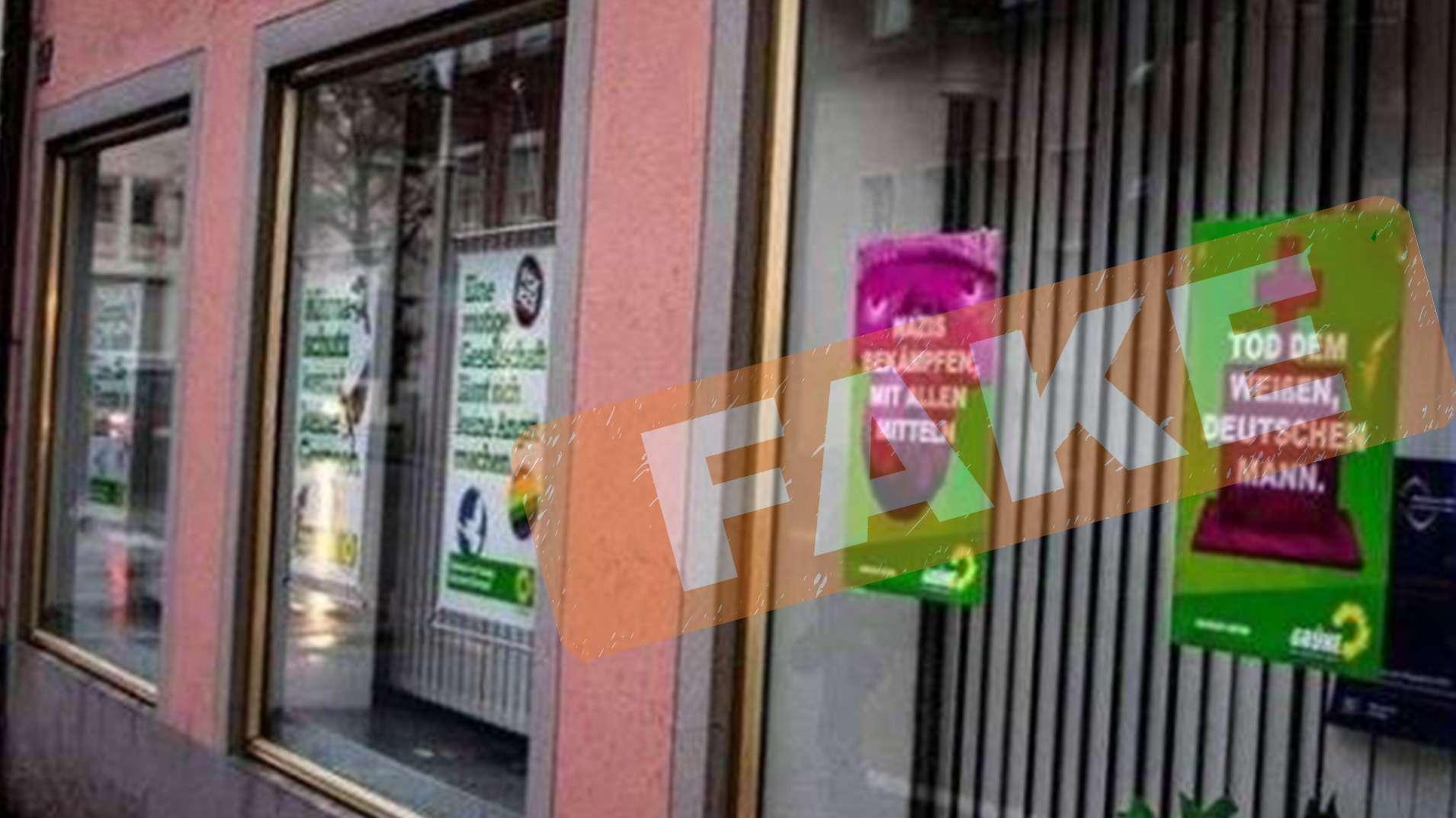 """Grüne Opfer von Fake-Attacke: zwei gefälschte Plakate an Schaufenster von Grünen angebracht. Das """"Fake""""-Zeichen wurde gegen eine missbräuchliche Weiterverbreitung eingesetzt."""