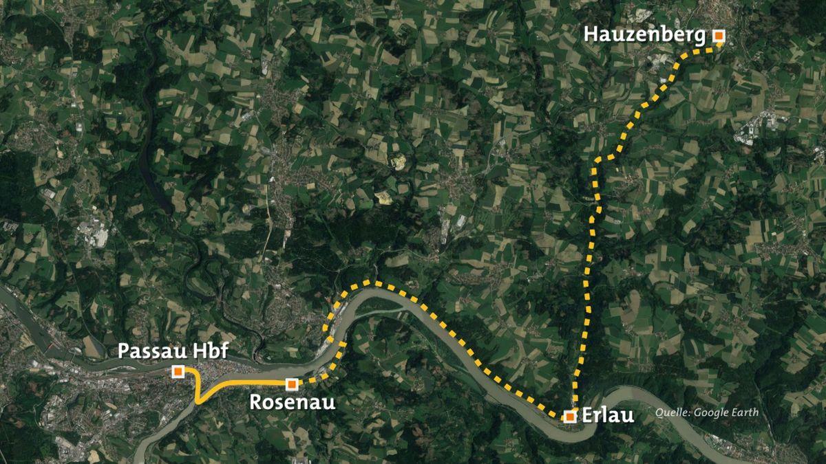 Die Karte zeigt, wo die Bahn seit August fährt und die geplante Route nach Hauzenberg