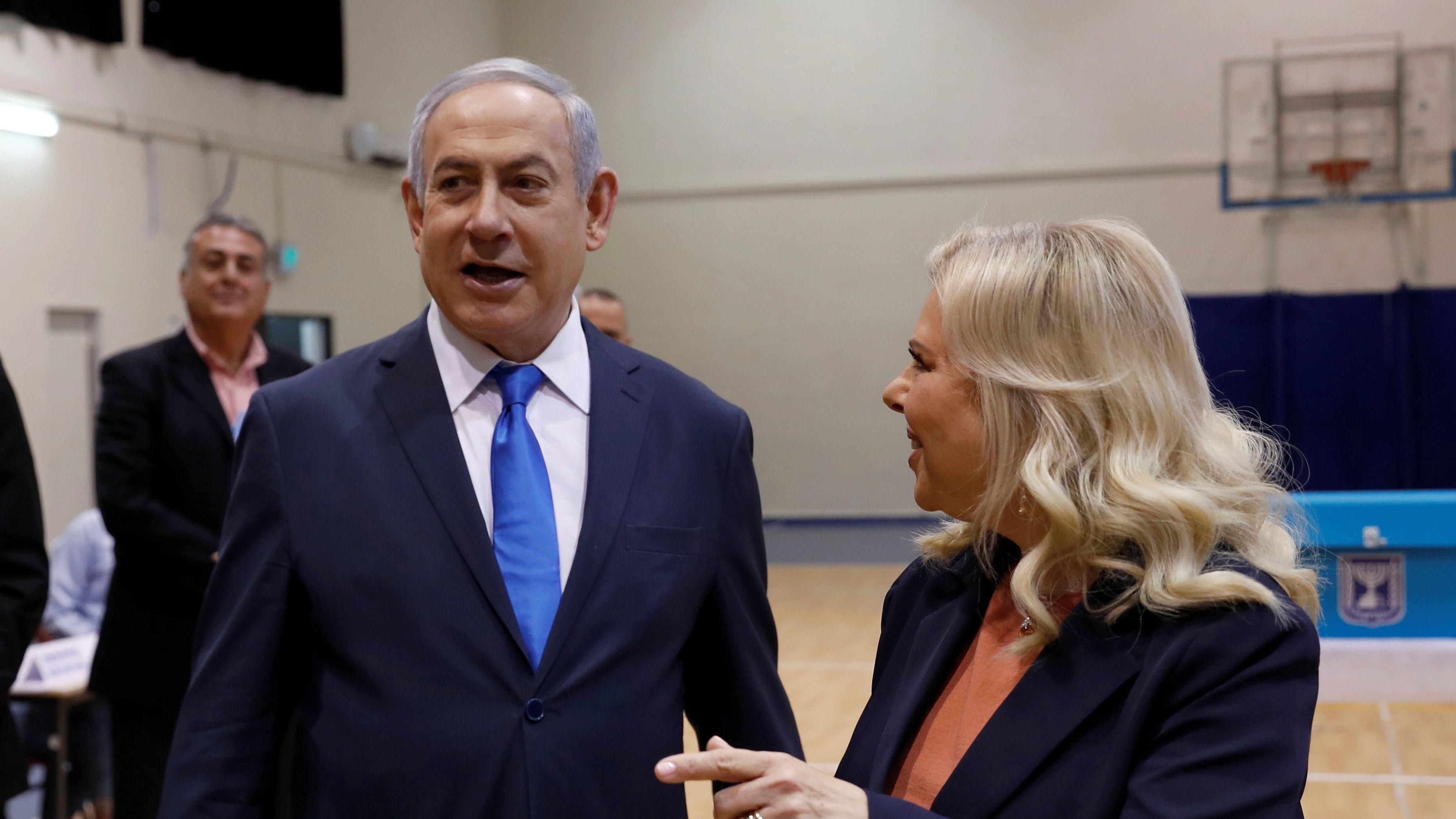 Premier Netanjahu nach der Stimmabgabe