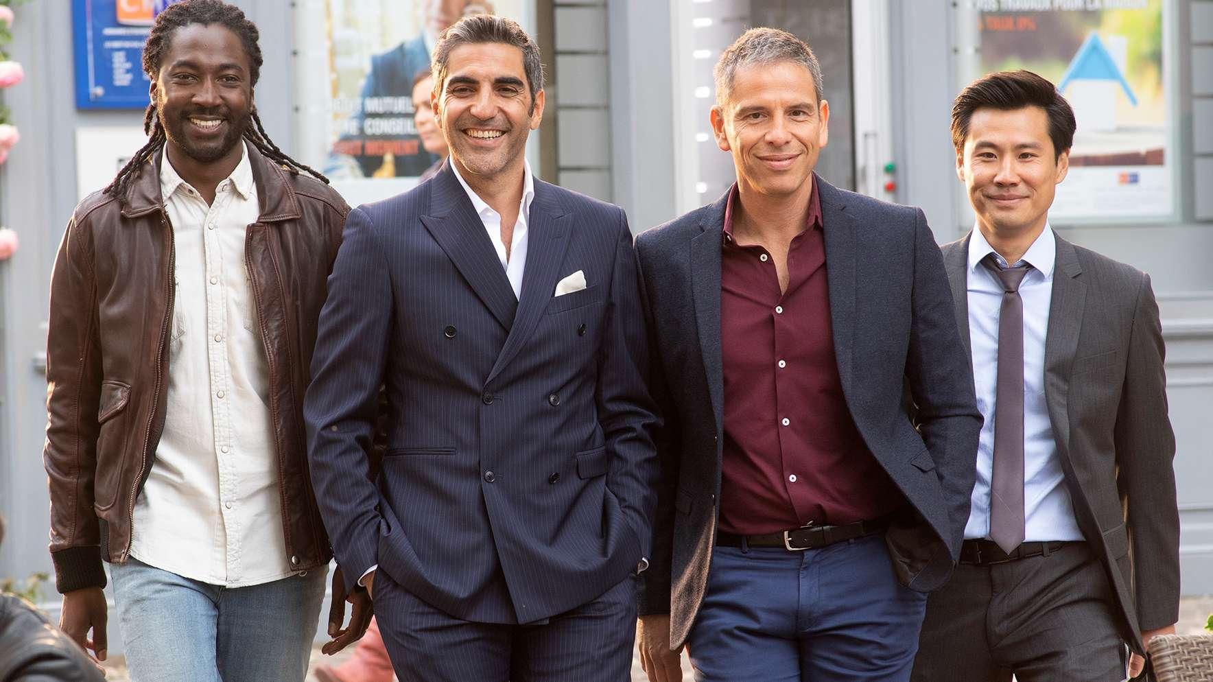 Die Schwiegersöhne: Charles (Noom Diawara), David (Ary Abittan), Rachid (Medi Sadoun) und Chao (Frédéric Chau)