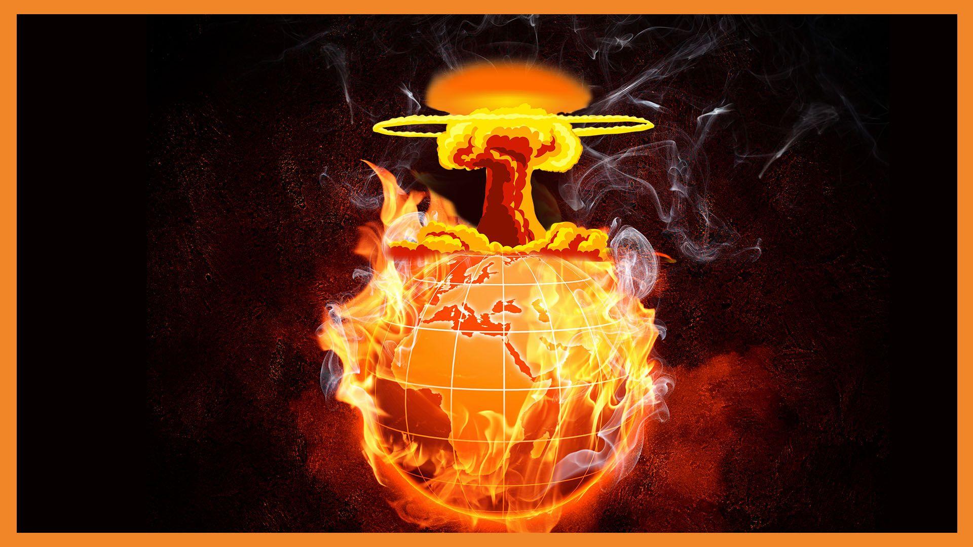 Eine brennende Erde, aus der ein Atompilz herauskommt.