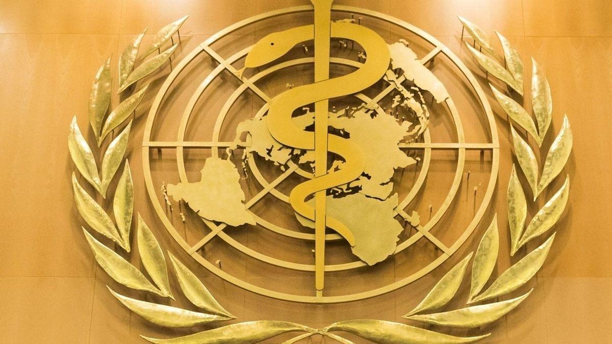 Logo der WHO im europäischen Hauptquartier der Vereinten Nationen in Genf