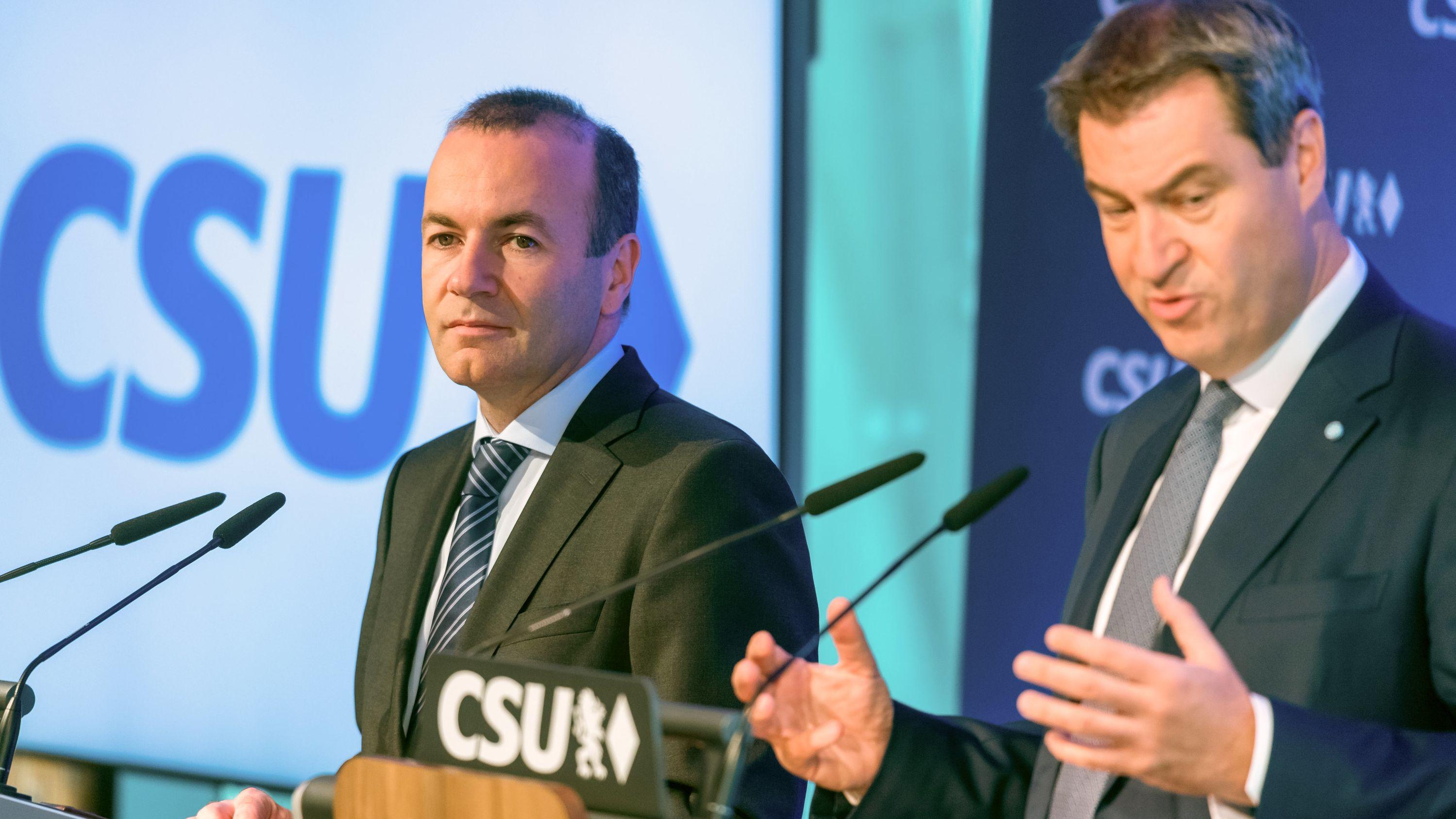 Manfred Weber und Markus Söder nach der Europawahl in München