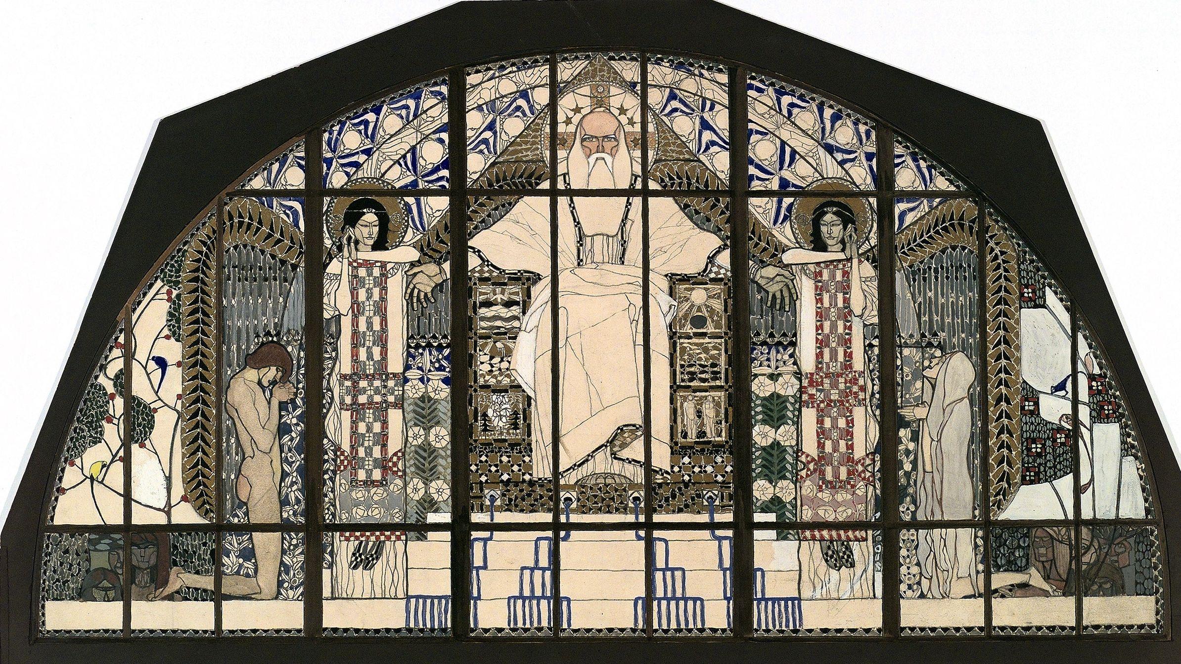 Koloman Moser, Entwurf für das Südfenster der Kirche St. Leopold am Steinhof, 1905/06
