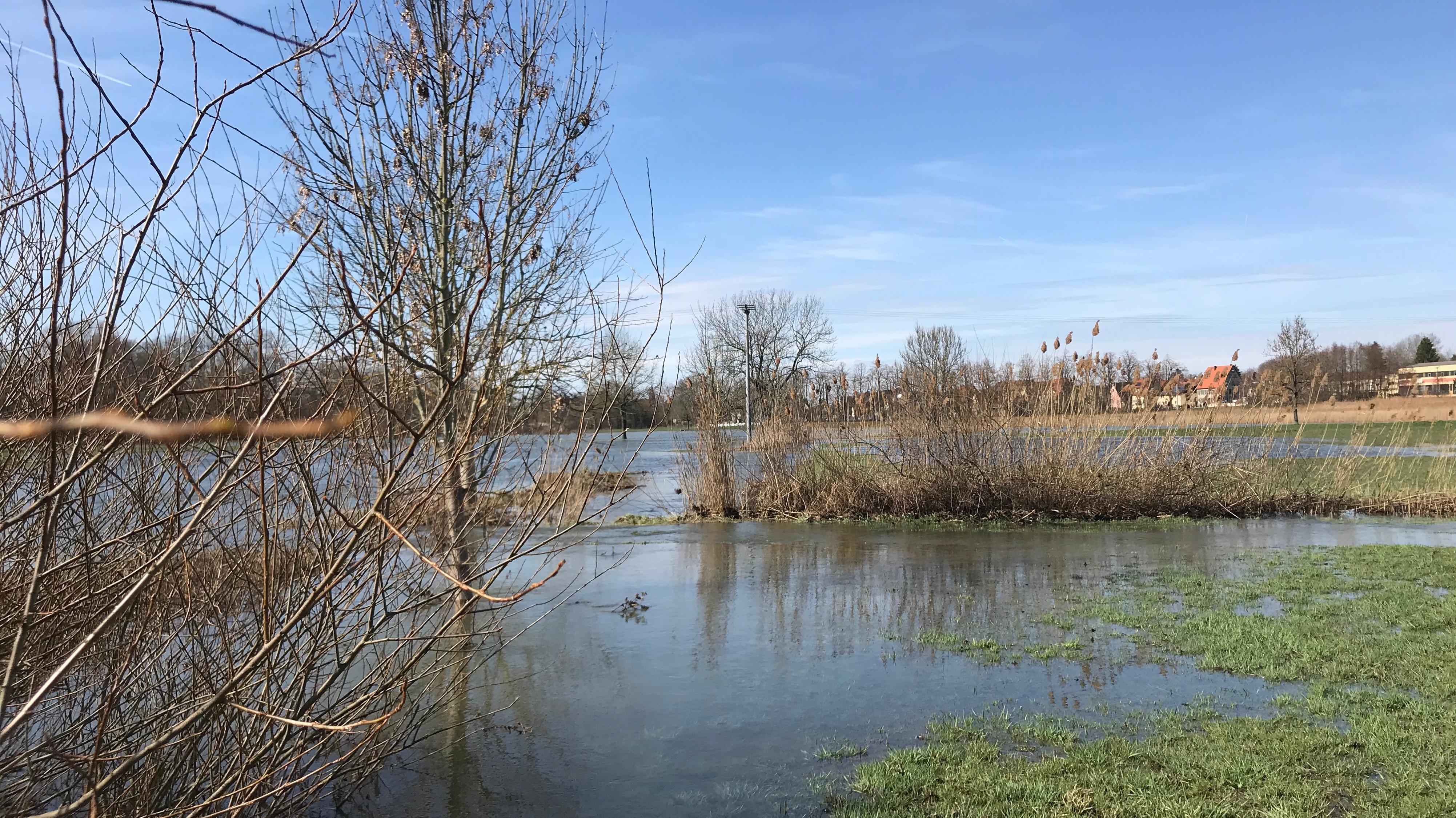 Überschwemmte Wiesen bei Hochwasser: Hier am 18.03.19 im Landkreis Nürnberger Land