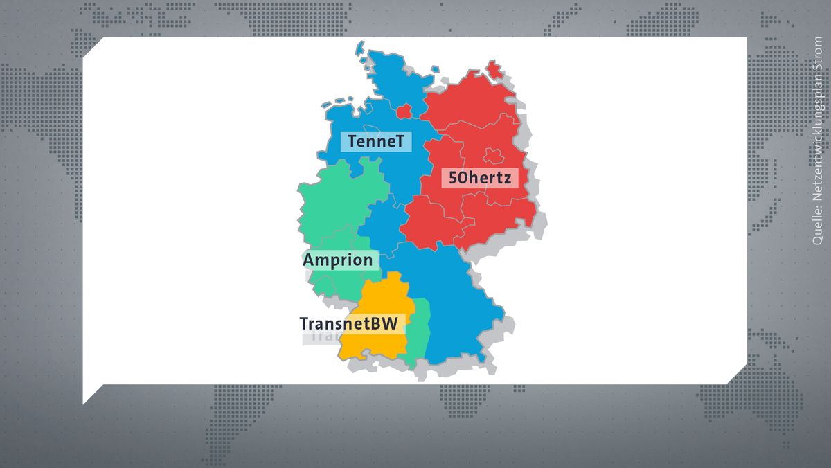 Die vier Übertragungsnetzbetreiber in Deutschland.
