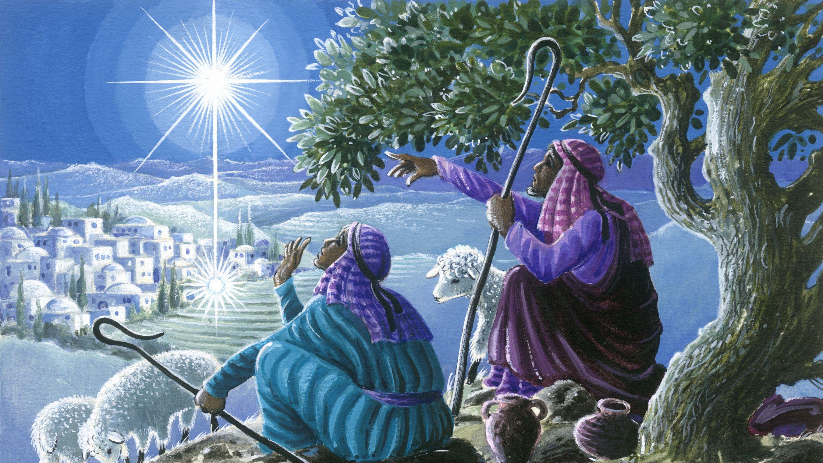 Hirten blicken auf den Stern von Bethlehem