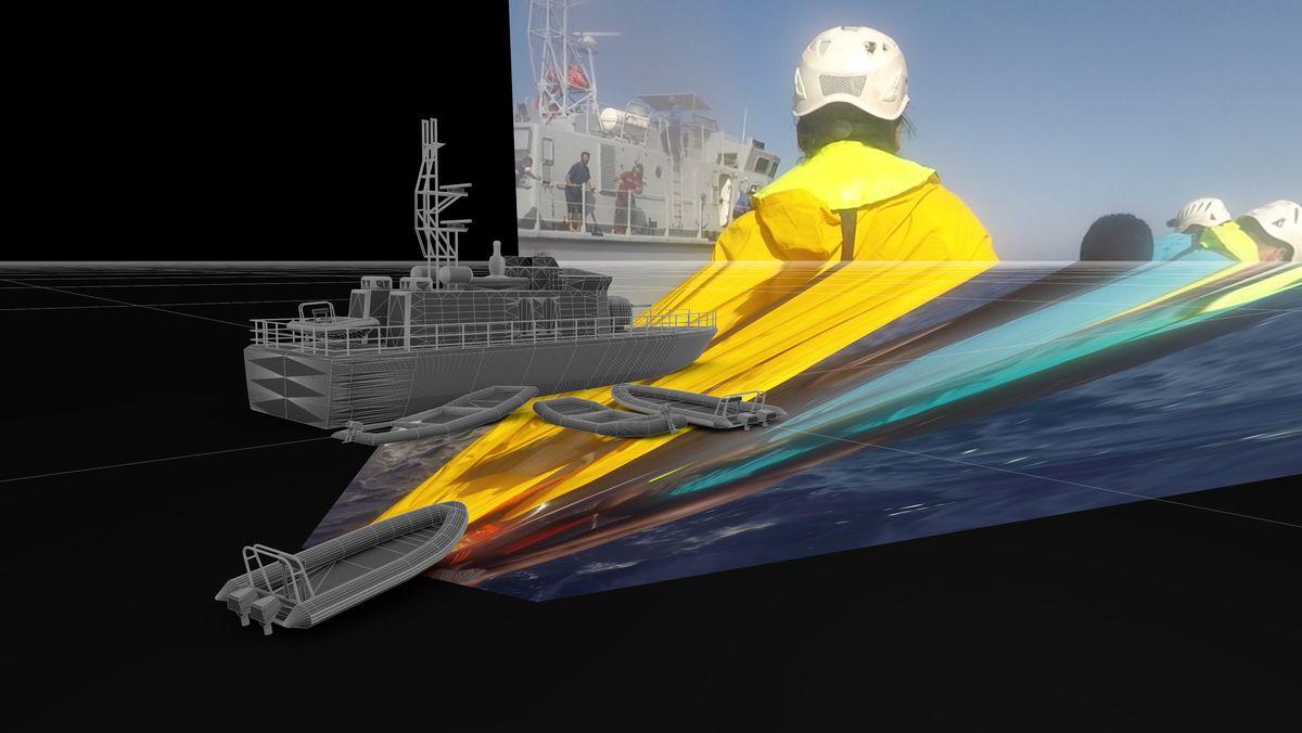 Eine Computeranimation zeigt ein Schiff und mehrere Rettungsboote