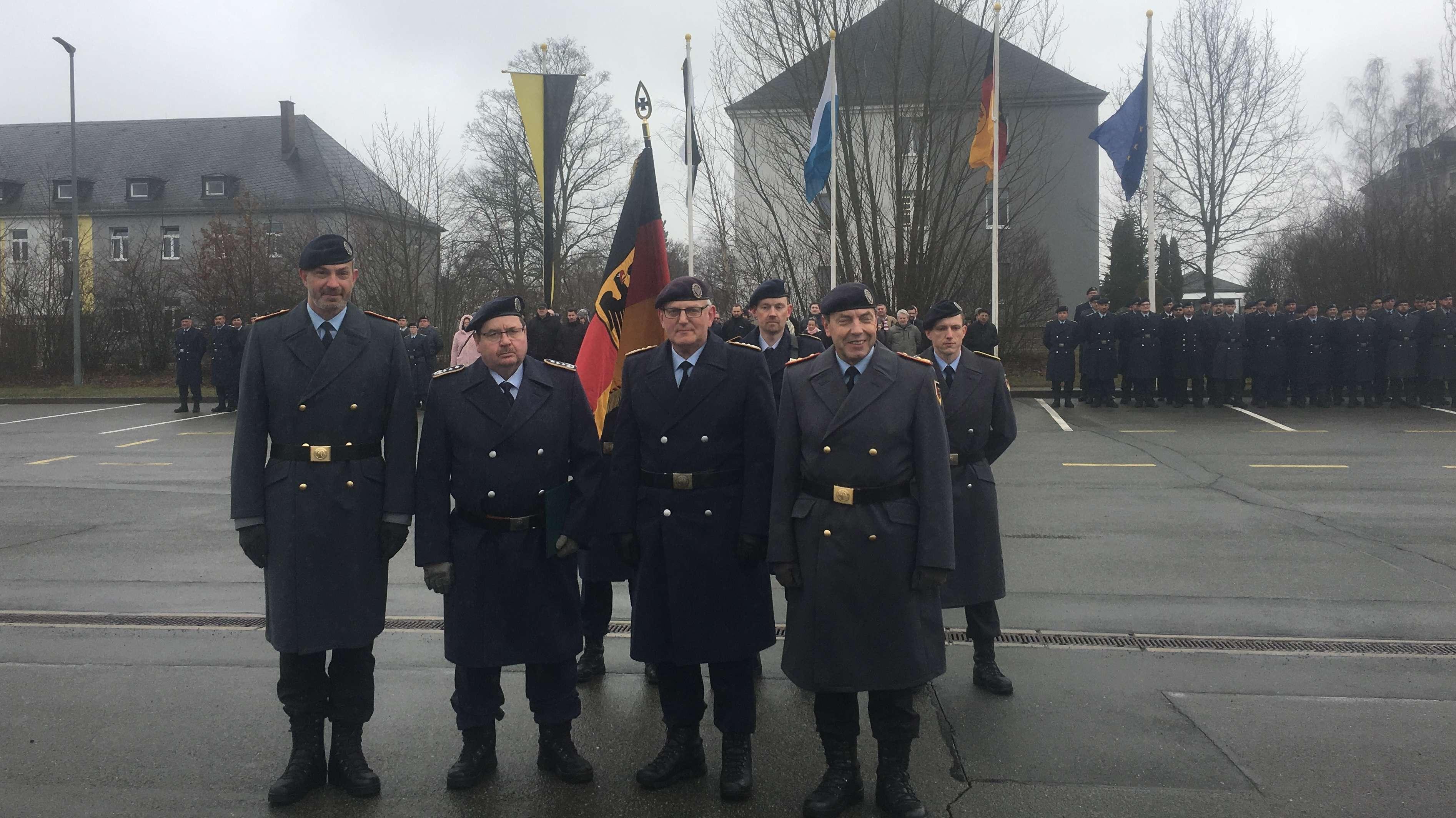 v.l.n.r.: Brigardegeneral Dag Baehr, Oberst Norbert Reineke, Oberst Torsten Grefe, Generalmajor Axel Binder