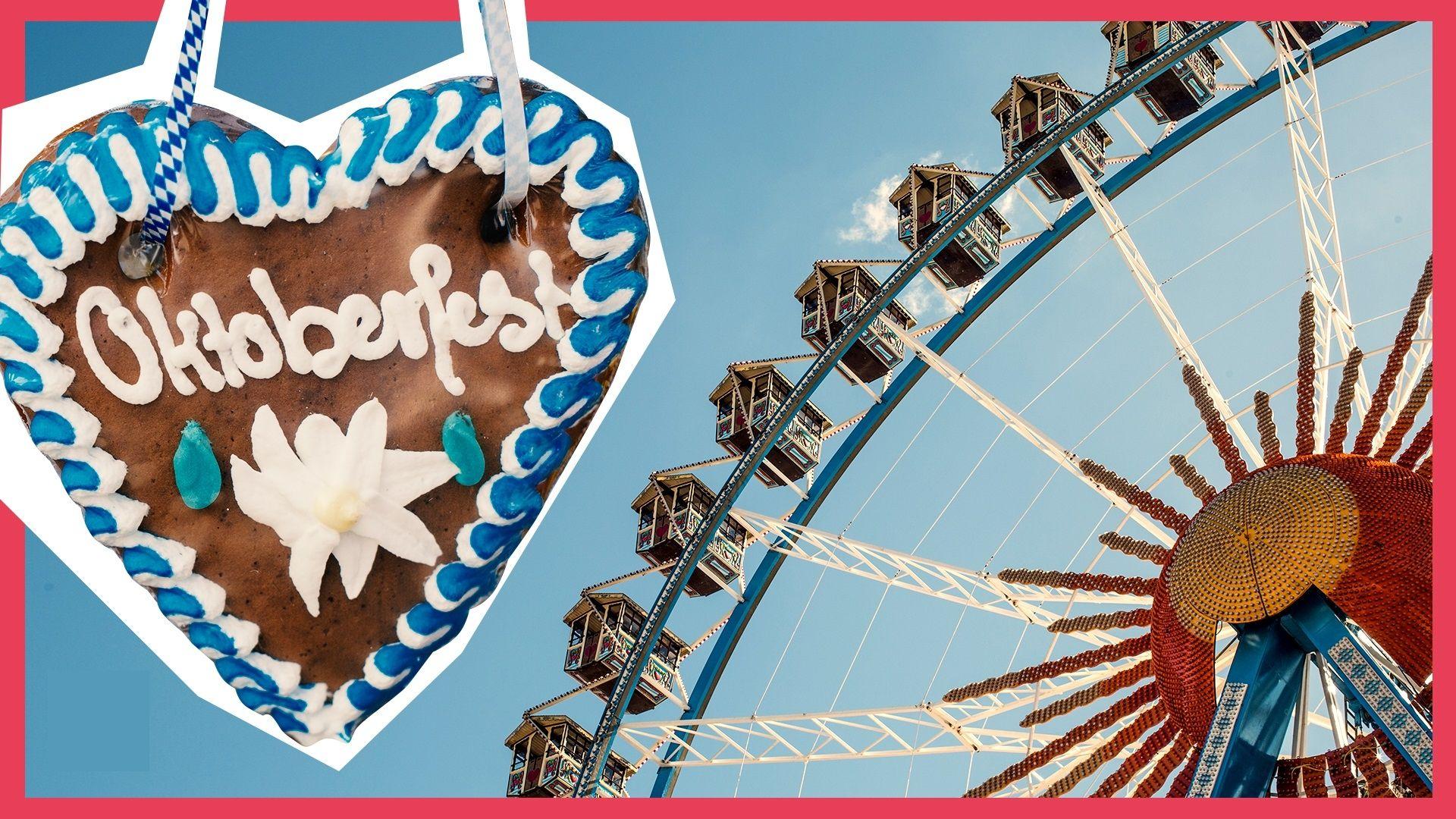 """Bildcollage. Links ein Lebkuchenherz mit dem Schriftzug """"Oktoberfest"""". Rechts im Anschnitt ein Riesenrad."""