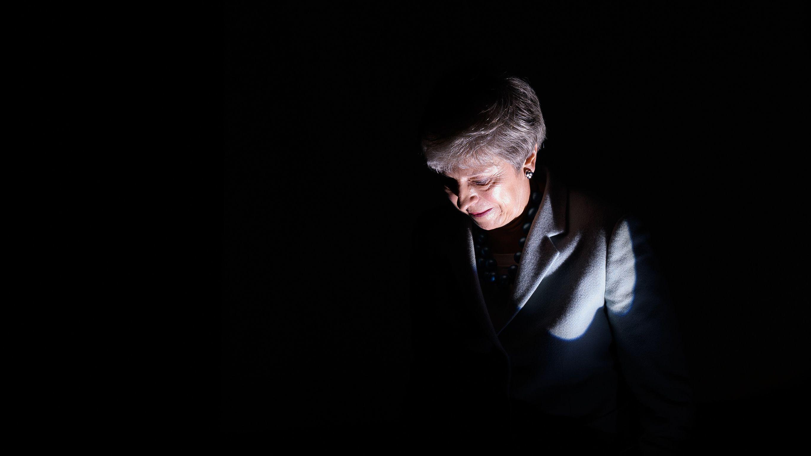 10.06.2019, Theresa May nach einer Rede anlässlich des Starts der London Tech Week