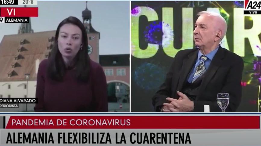 Screenshot einer Übertragung des argentinischen Nachrichtensenders A24 mit Journalistin Diana Alvarado live aus Regensburg.