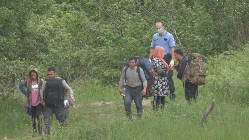 Ein kroatischer Polizist begleitet Flüchtlinge über die grüne Grenze nach Bosnien und Herzegowina.