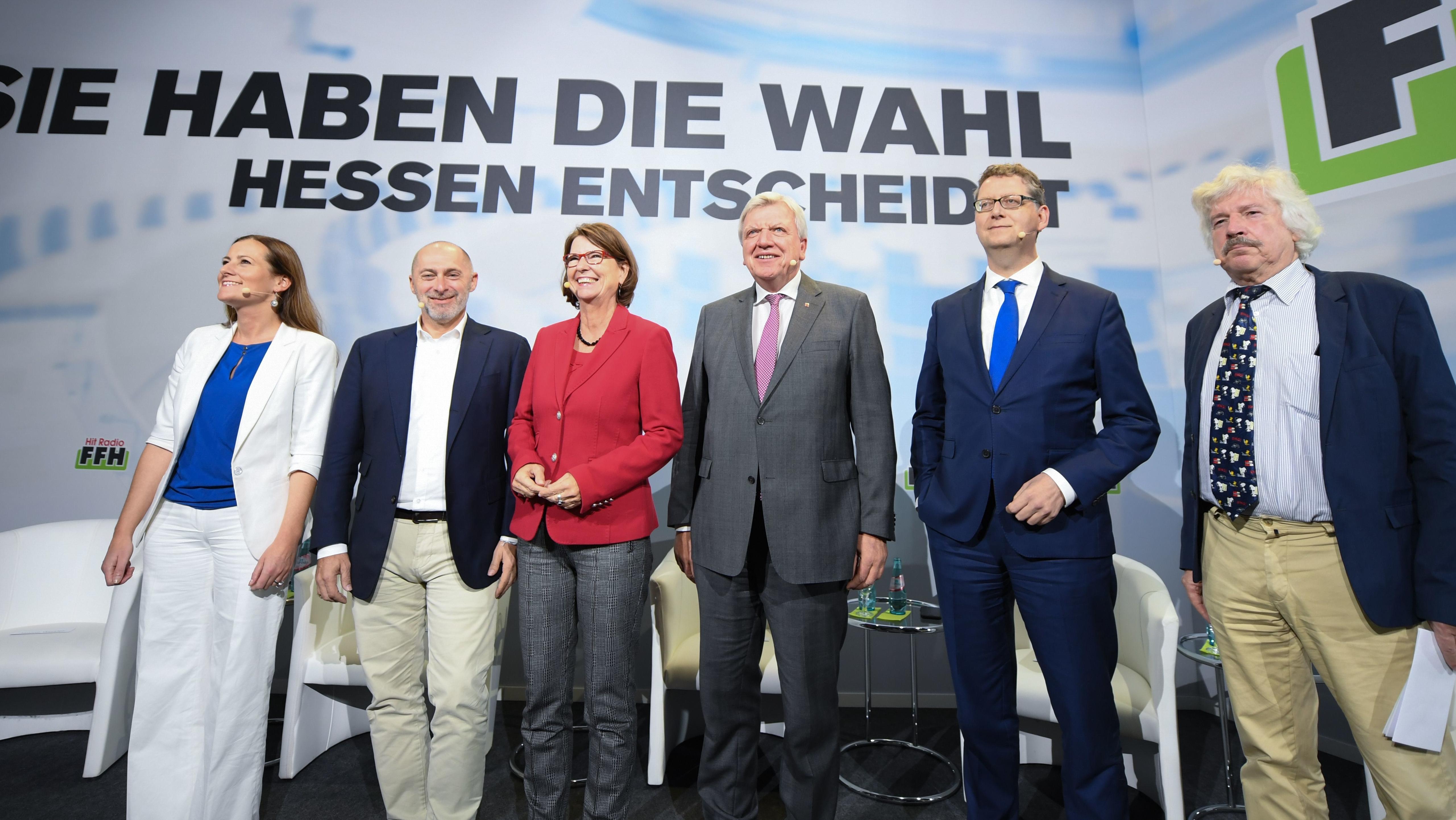 Janine Wissler (Die Linke), René Rock (FDP), Priska Hinz (Grüne), Volker Bouffier (CDU), Thorsten Schäfer-Gümbel (SPD), Rainer Rahn (AfD)