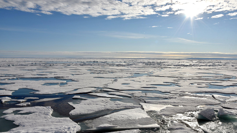 Auf dem Arktischen Ozean am Nordpol schwimmen mehrere Eisplatten.