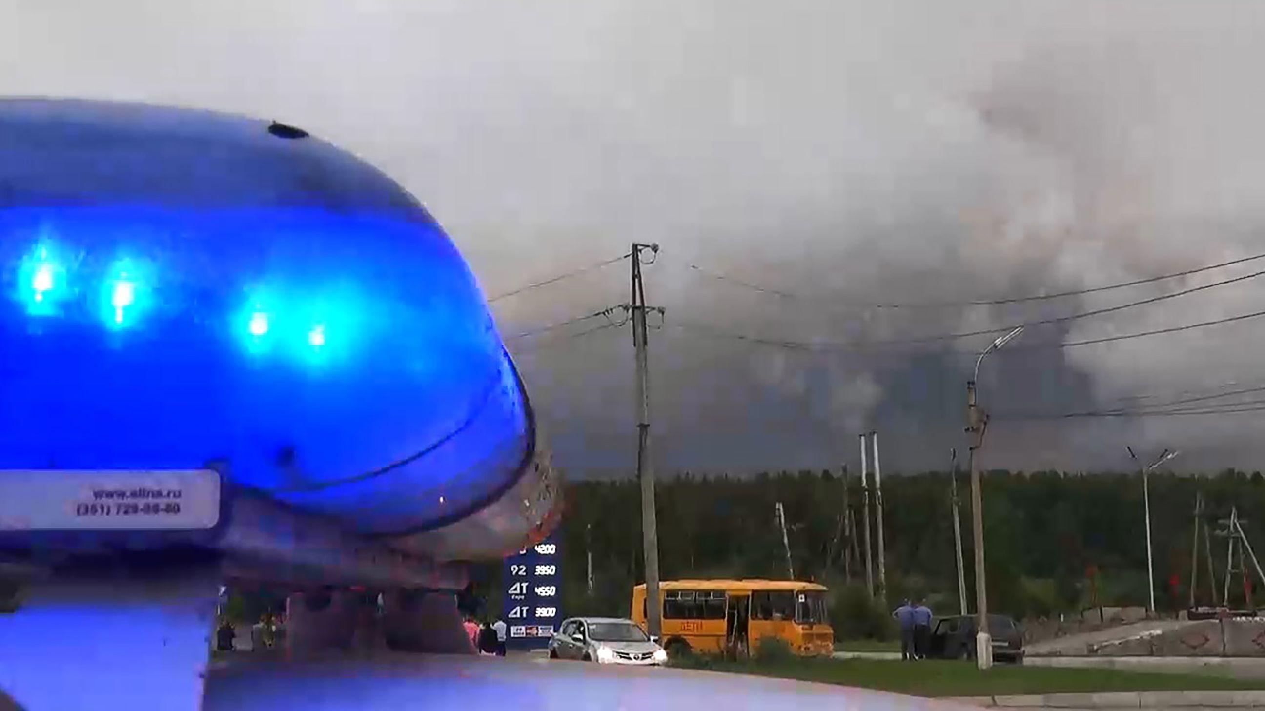Polizeisperre nach Raketenunfall im Gebiet Krasnoyarsk, Russland