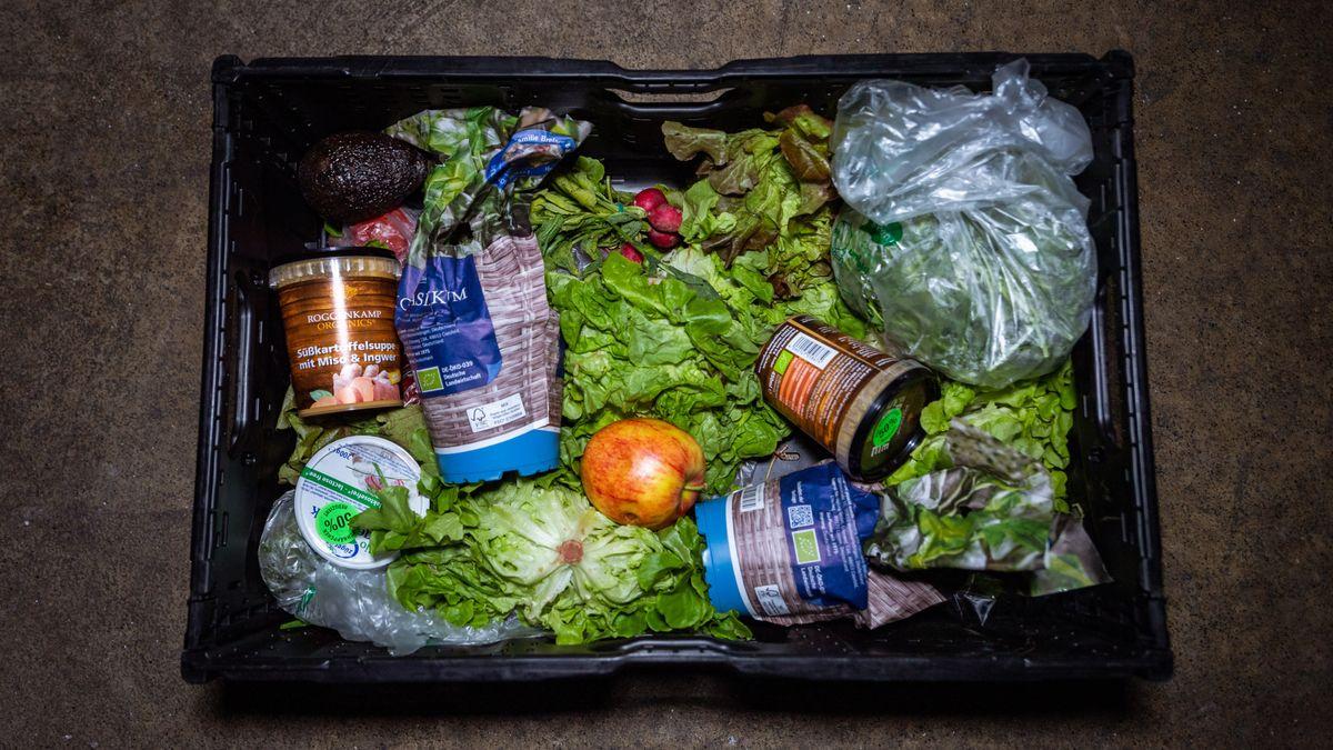 Blick auf eine Kiste mit Nahrungsmitteln, die anlässlich einer Foodsharing-Aktion von einem Supermarkt an Foodsaverinnen übergeben wurde. (Archivbild)