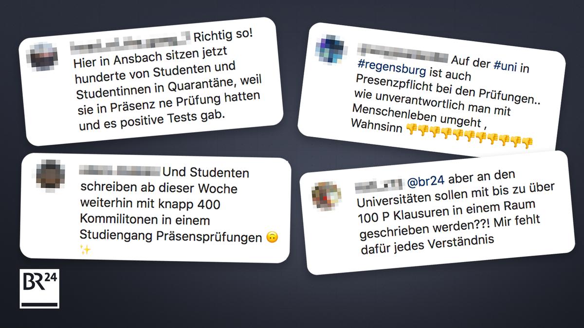 Social-Media-Posts zu Präsenzprüfungen, Februar 2021. (Die Uni Regensburg hat schriftliche Präsenzprüfungen bis vorerst 13. Februar ausgesetzt.)