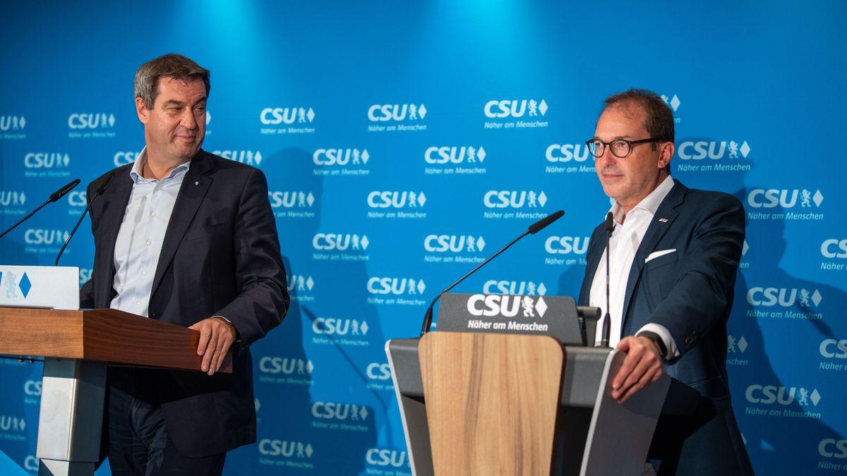 Archivbild: Markus Söder, Ministerpräsident von Bayern, und Alexander Dobrindt, Bundesverkehrsminister, nehmen an der Abschlusspressekonferenz zur zweitägigen CSU-Vorstandsklausur teil.