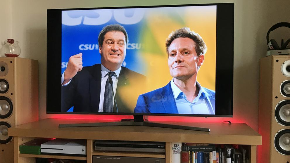 Anhänger von CSU und Grünen wollen den Schlagabtausch beim Public Viewing verfolgen   Bild:picture alliance / Sven Simon