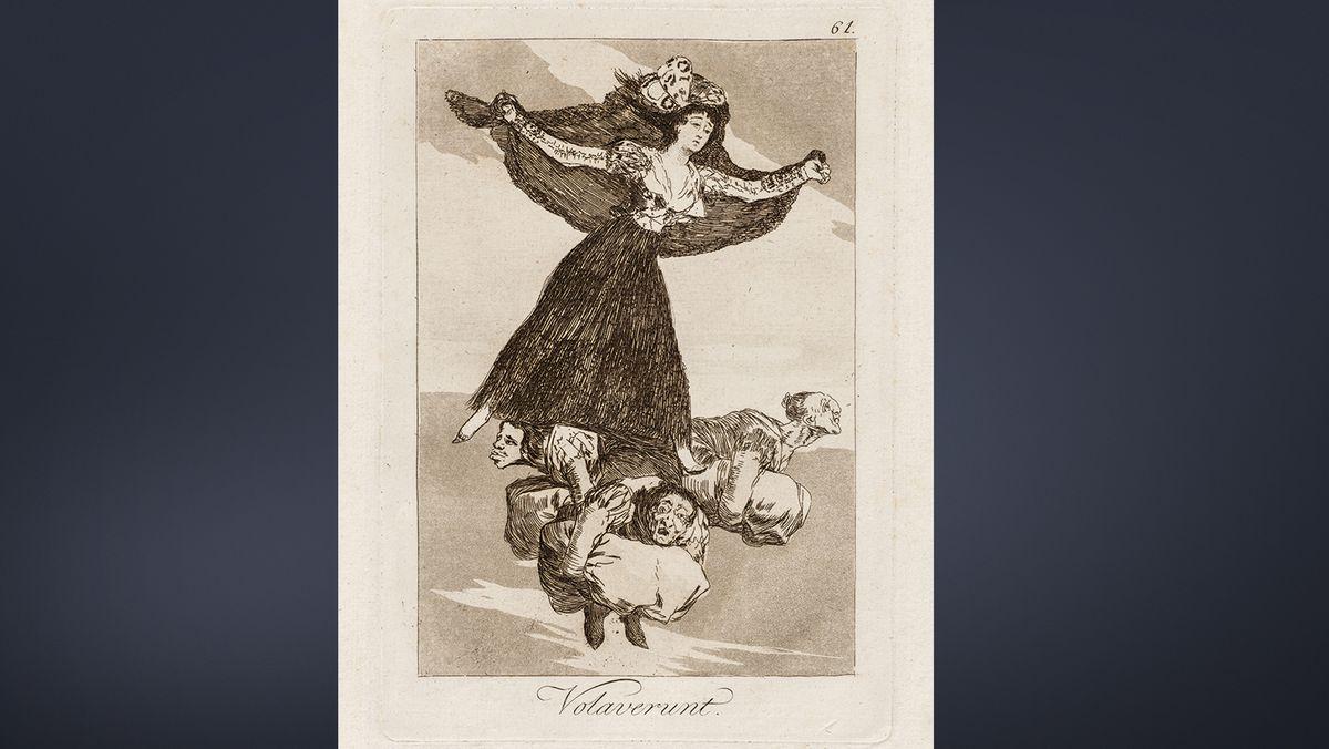 Radierung von Goya zeigt eine schwebende Frau mit ausgebreiteten Armen unter der drei gebückte Männer mit Steinen sich plagen
