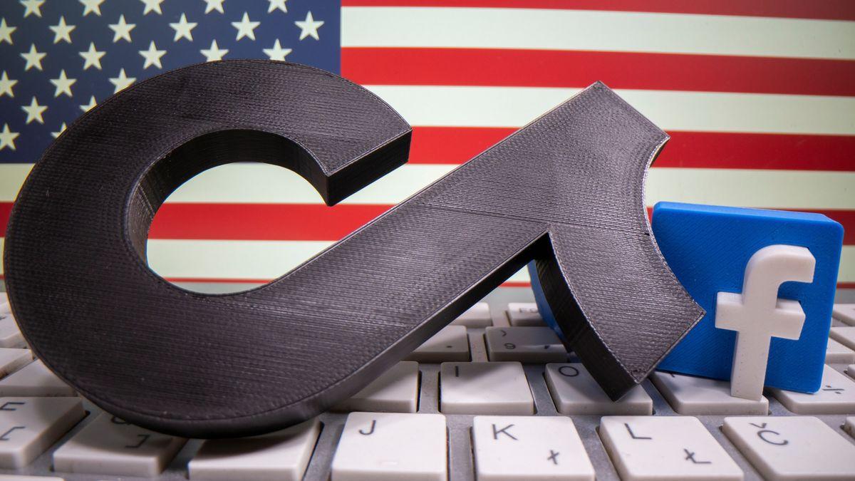 Logos von TikTok und Facebook vor US-Flagge