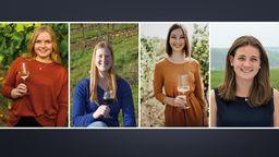 Vier junge Frauen wollen Fränkische Weinkönigin werden | Bild:Fränkischer Weinbauverband/Grafik: BR