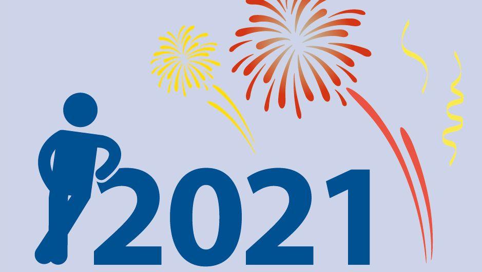 Zeichnung: ein Männchen lehnt sich an die Jahreszahl 2021 - im Hintergrund ein Feuerwerk