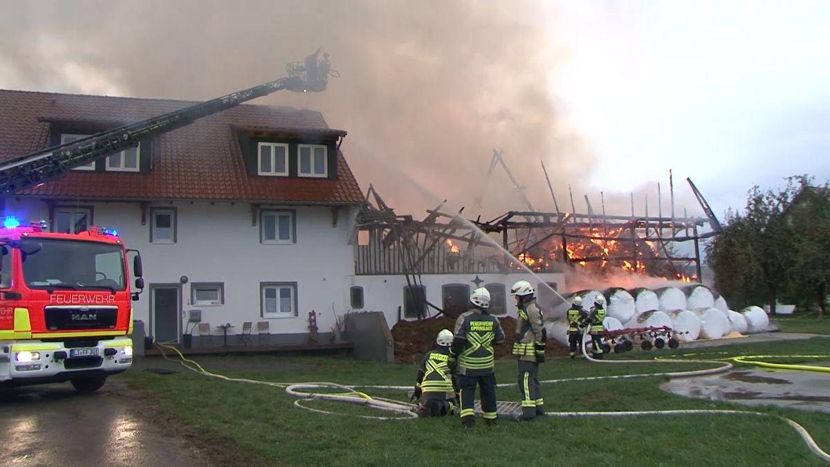 Am Sonntagabend ist in einem Stall in Opfenbach ein Feuer ausgebrochen.