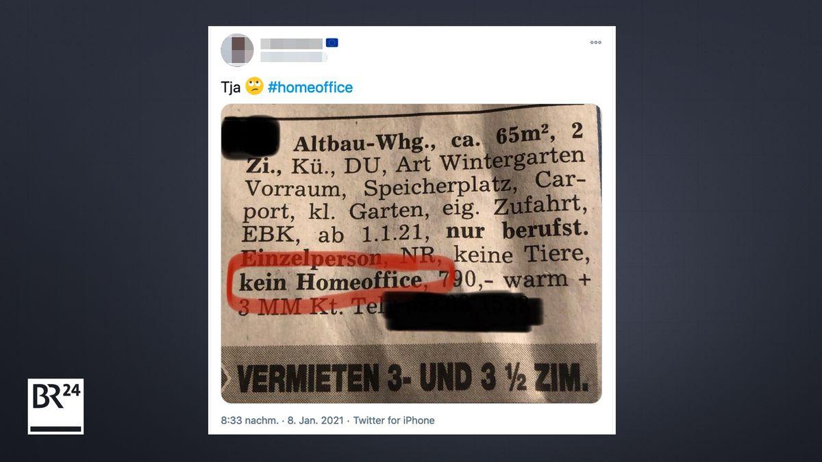 """Eine Wohnungsanzeige mit der Anforderung """"kein Homeoffice"""""""