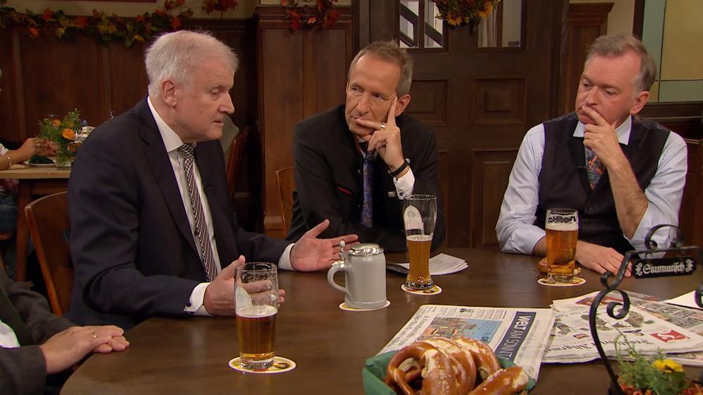 CSU-Chef Horst Seehofer beim Stammtisch im BR-Fernsehen | Bild:BR