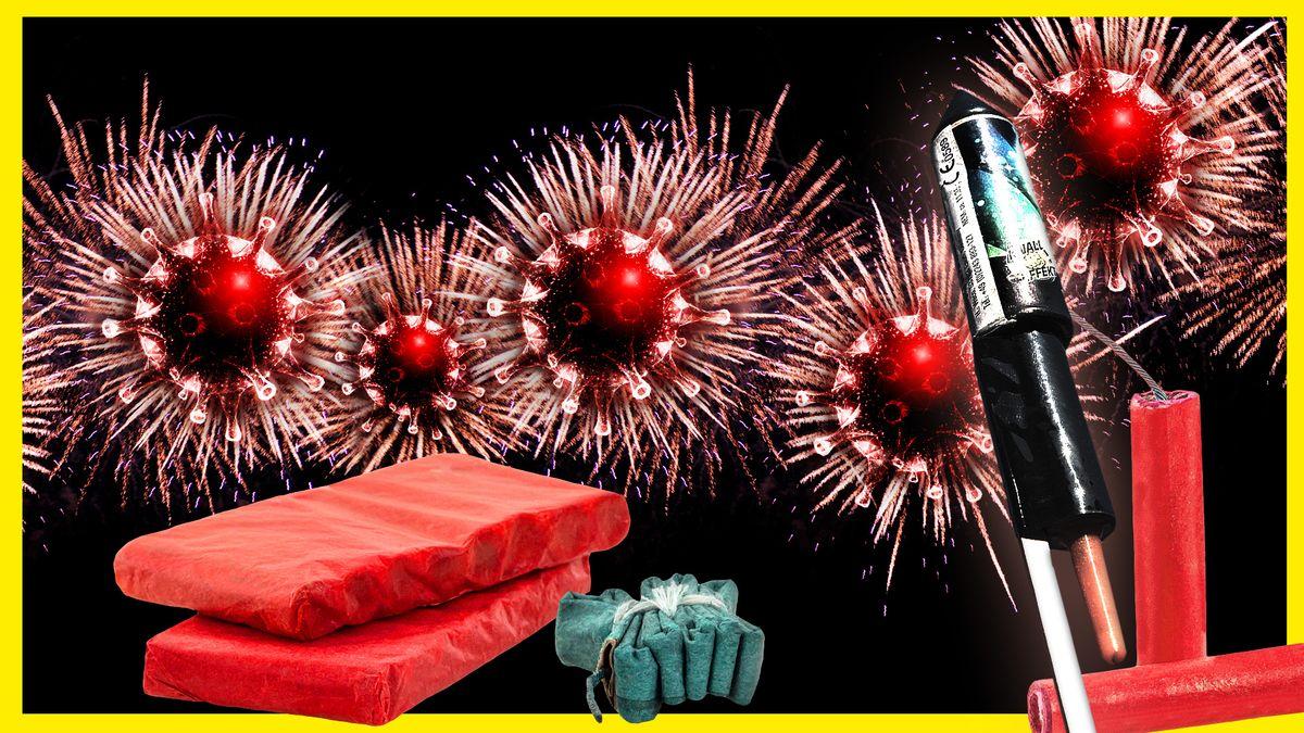 Im Vordergrund sind zwei Böller-Packungen, ein Knallfrosch, eine Rakete und zwei einzelne Böller zu sehen. Im Hintergrund explodieren fünf Coronaviren im Feuerwerk-Stil auf schwarzem Hintergrund.