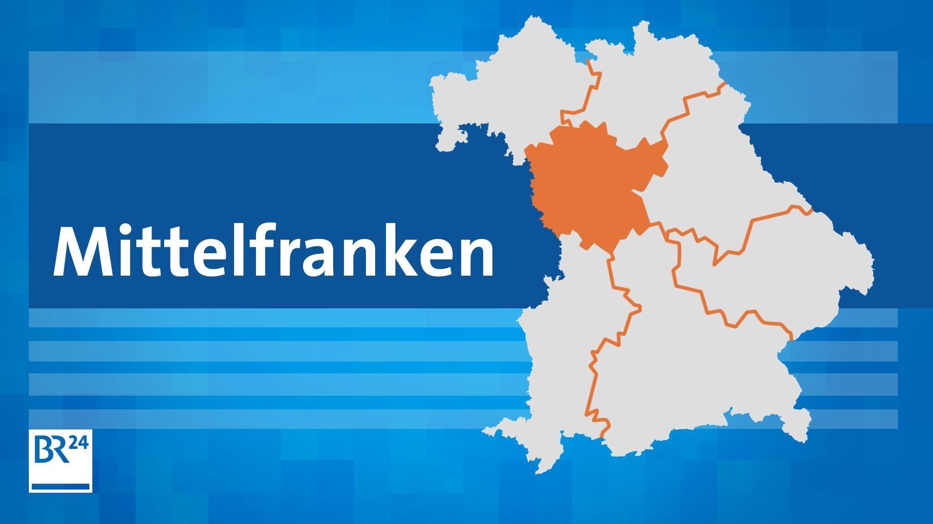 """Stilisierte Landkarte von Bayern mit den Bezirksgrenzen. Mittelfranken ist farblich hervorgehoben. Daneben steht der Schriftzug """"Mittelfranken""""."""